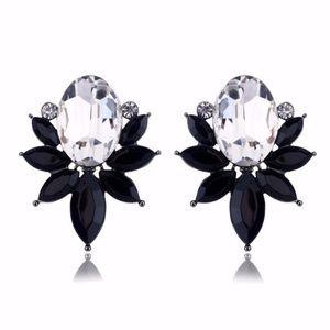 Opal Black Sliver Crystal Drop Earrings